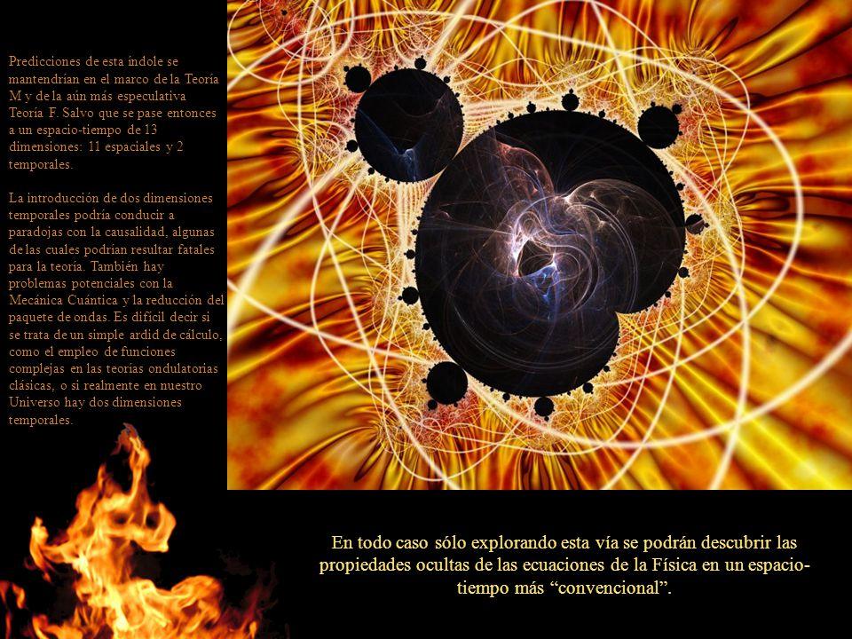 Predicciones de esta índole se mantendrían en el marco de la Teoría M y de la aún más especulativa Teoría F. Salvo que se pase entonces a un espacio-t