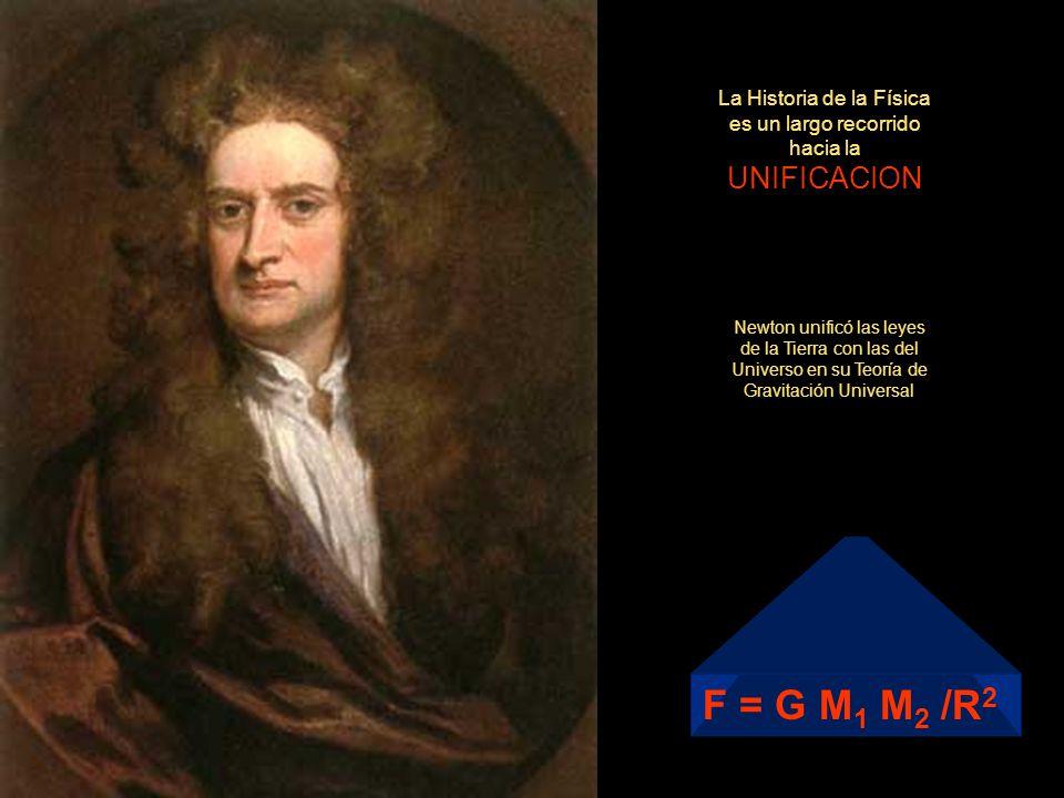 La Historia de la Física es un largo recorrido hacia la UNIFICACION Newton unificó las leyes de la Tierra con las del Universo en su Teoría de Gravita
