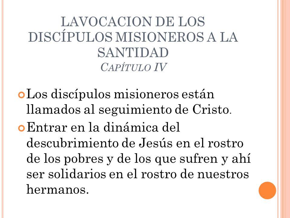 LAVOCACION DE LOS DISCÍPULOS MISIONEROS A LA SANTIDAD C APÍTULO IV Los discípulos misioneros están llamados al seguimiento de Cristo. Entrar en la din