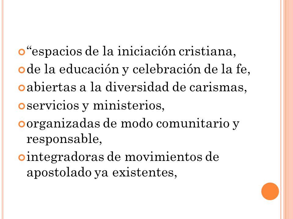 espacios de la iniciación cristiana, de la educación y celebración de la fe, abiertas a la diversidad de carismas, servicios y ministerios, organizada