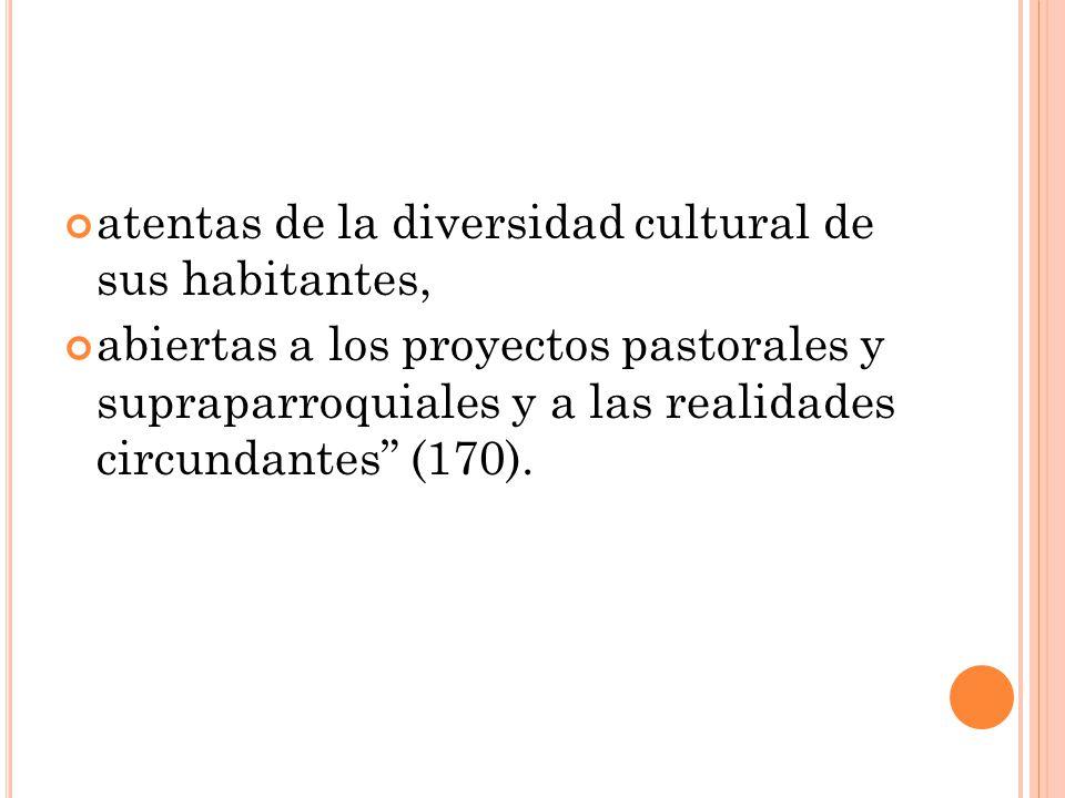 atentas de la diversidad cultural de sus habitantes, abiertas a los proyectos pastorales y supraparroquiales y a las realidades circundantes (170).