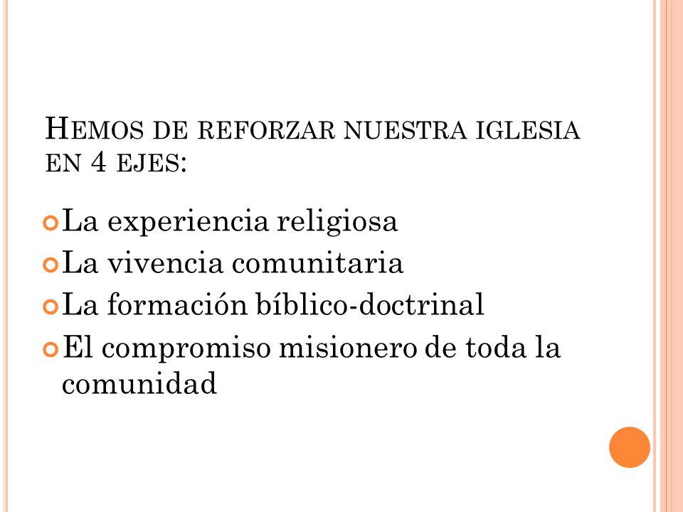 La experiencia religiosa La vivencia comunitaria La formación bíblico-doctrinal El compromiso misionero de toda la comunidad H EMOS DE REFORZAR NUESTR