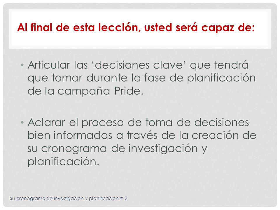Su cronograma de investigación y planificación # 2 Articular las decisiones clave que tendrá que tomar durante la fase de planificación de la campaña