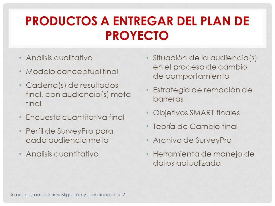 Su cronograma de investigación y planificación # 2 PRODUCTOS A ENTREGAR DEL PLAN DE PROYECTO Análisis cualitativo Modelo conceptual final Cadena(s) de