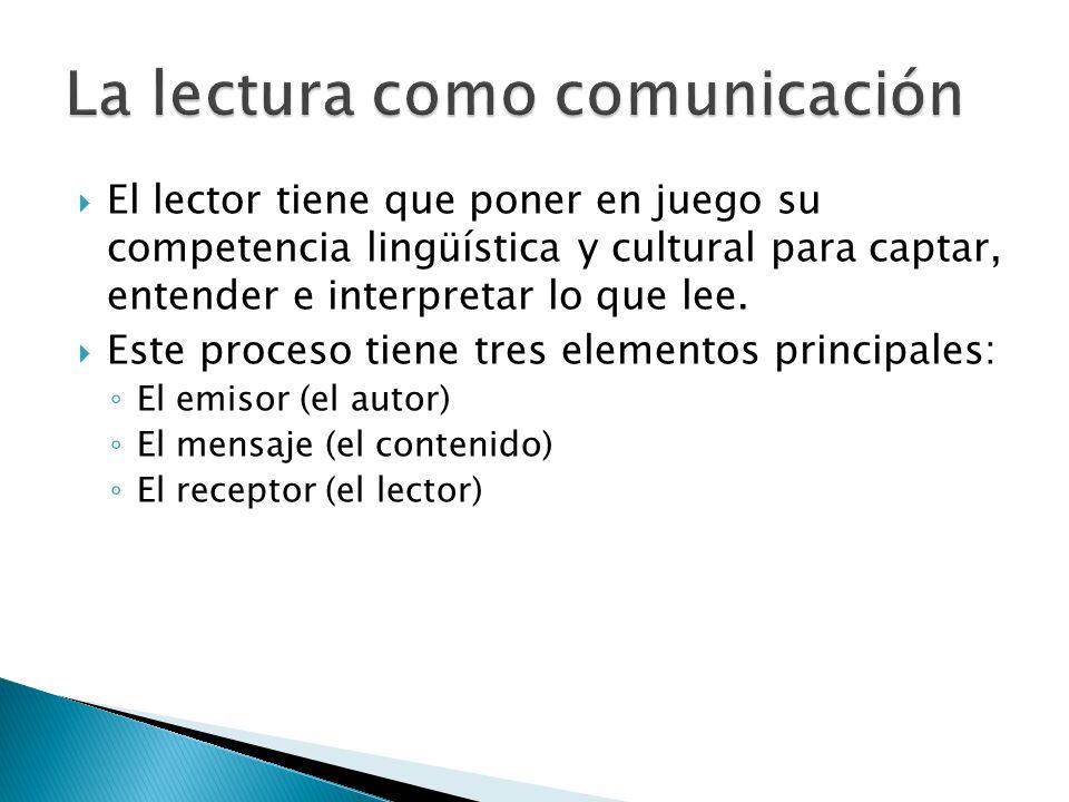 El lector tiene que poner en juego su competencia lingüística y cultural para captar, entender e interpretar lo que lee.