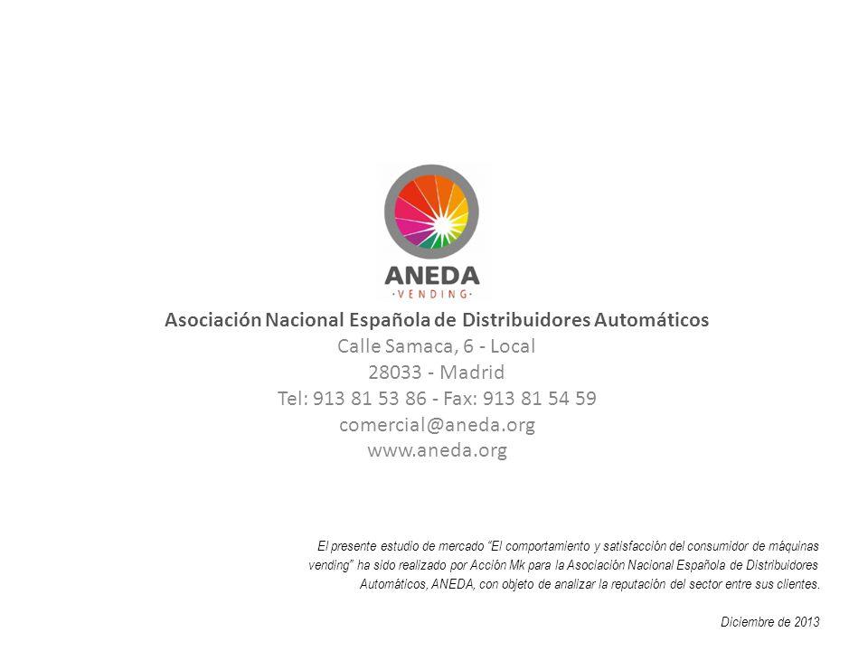 Asociación Nacional Española de Distribuidores Automáticos Calle Samaca, 6 - Local 28033 - Madrid Tel: 913 81 53 86 - Fax: 913 81 54 59 comercial@aned
