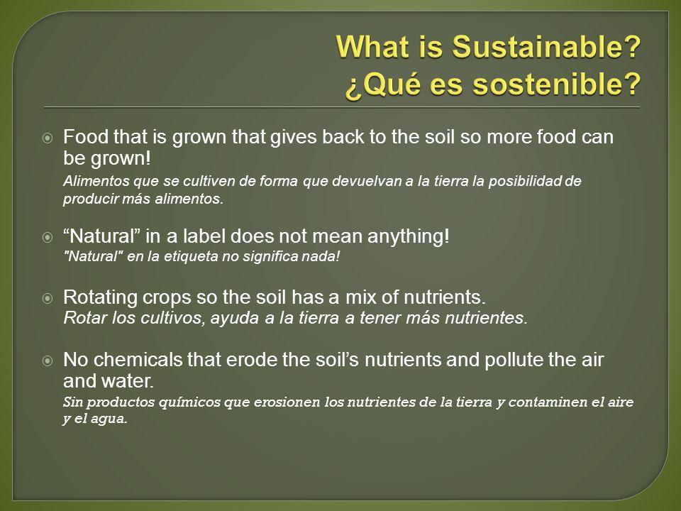 Food that is grown that gives back to the soil so more food can be grown! Alimentos que se cultiven de forma que devuelvan a la tierra la posibilidad