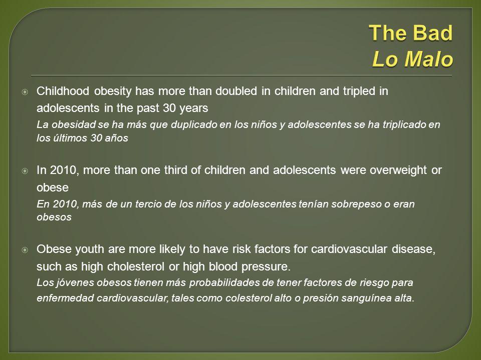 Childhood obesity has more than doubled in children and tripled in adolescents in the past 30 years La obesidad se ha más que duplicado en los niños y