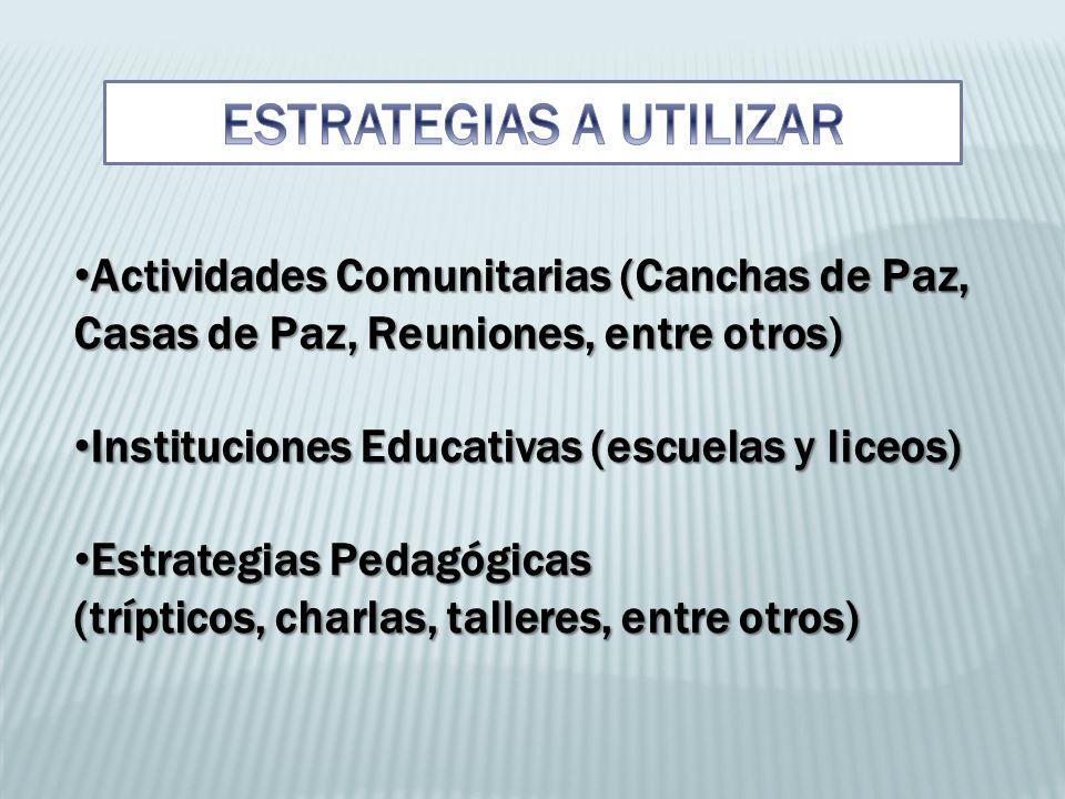 Actividades Comunitarias (Canchas de Paz, Casas de Paz, Reuniones, entre otros) Instituciones Educativas (escuelas y liceos) Estrategias Pedagógicas (