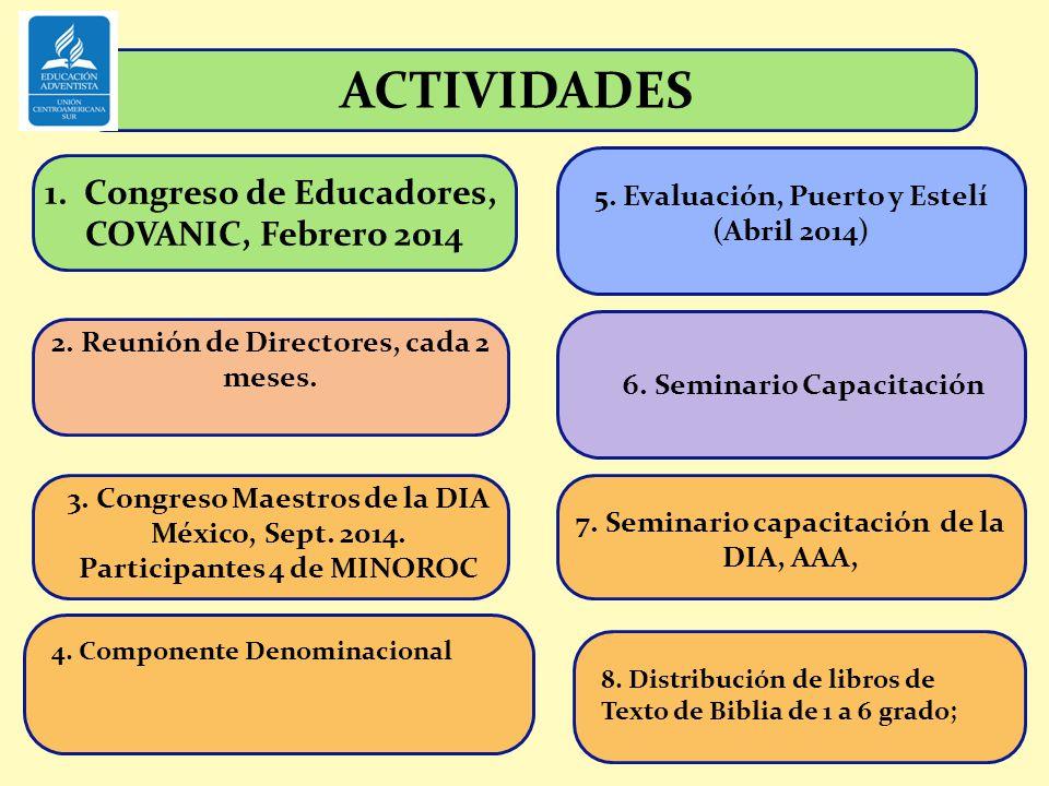 1.Congreso de Educadores, COVANIC, Febrero 2014 ACTIVIDADES 2. Reunión de Directores, cada 2 meses. 3. Congreso Maestros de la DIA México, Sept. 2014.
