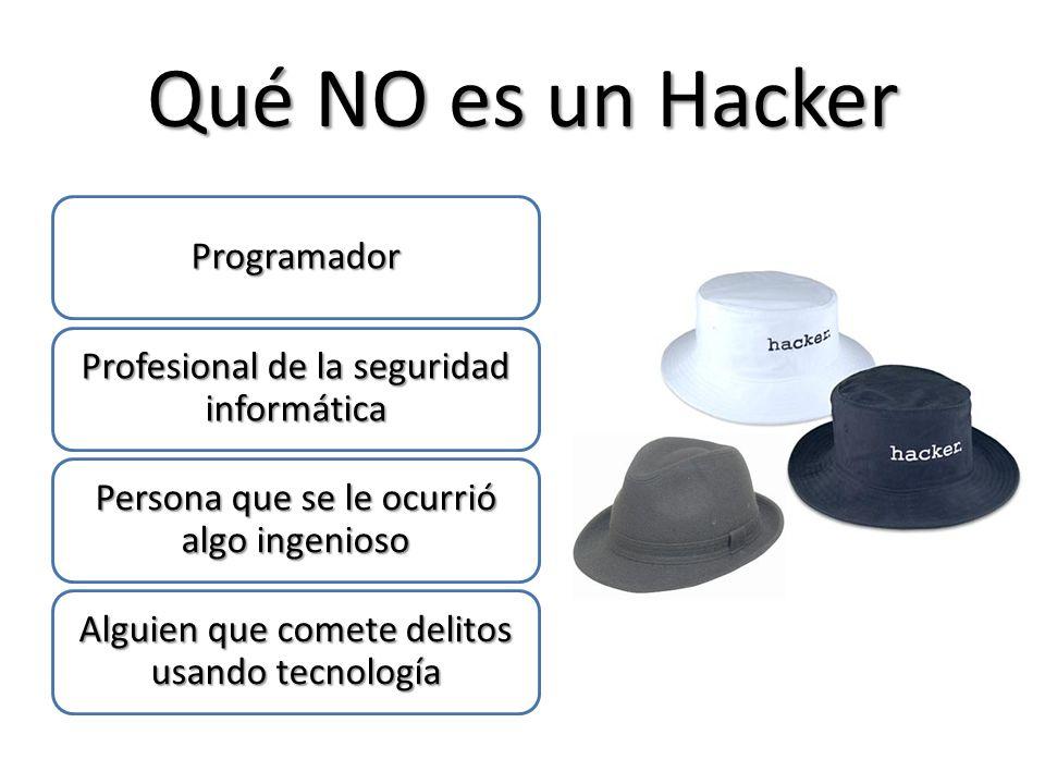 Qué NO es un Hacker Programador Profesional de la seguridad informática Persona que se le ocurrió algo ingenioso Alguien que comete delitos usando tecnología
