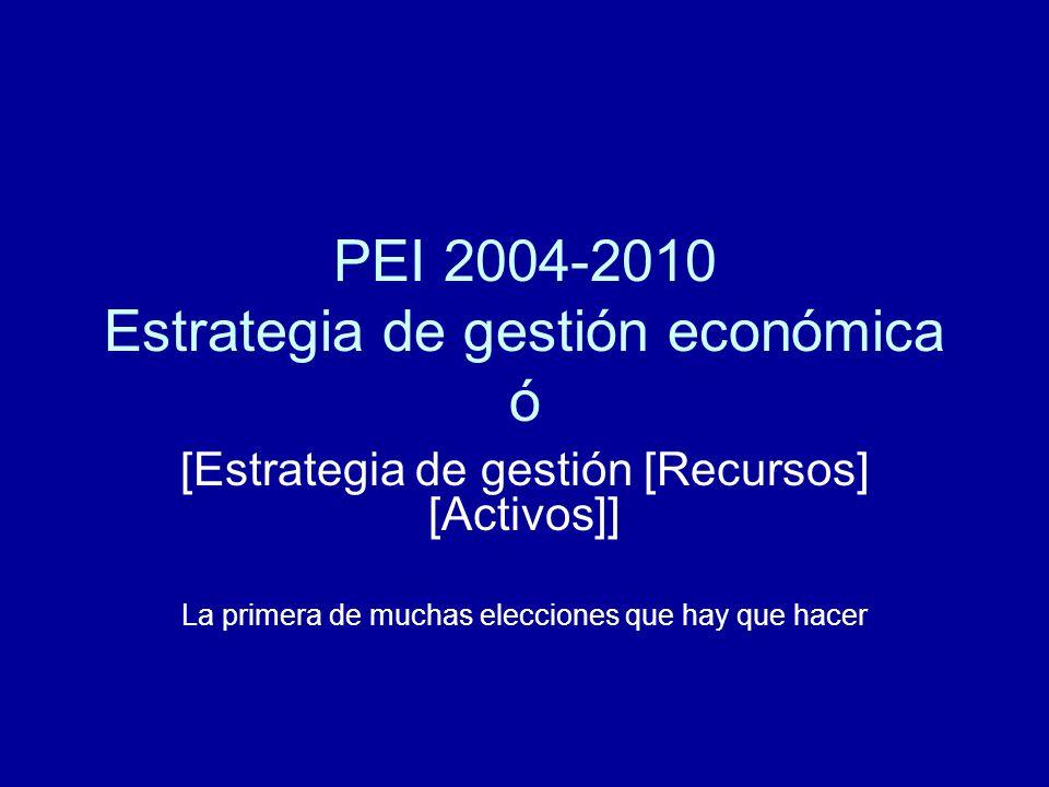 PEI 2004-2010 Estrategia de gestión económica ó [Estrategia de gestión [Recursos] [Activos]] La primera de muchas elecciones que hay que hacer
