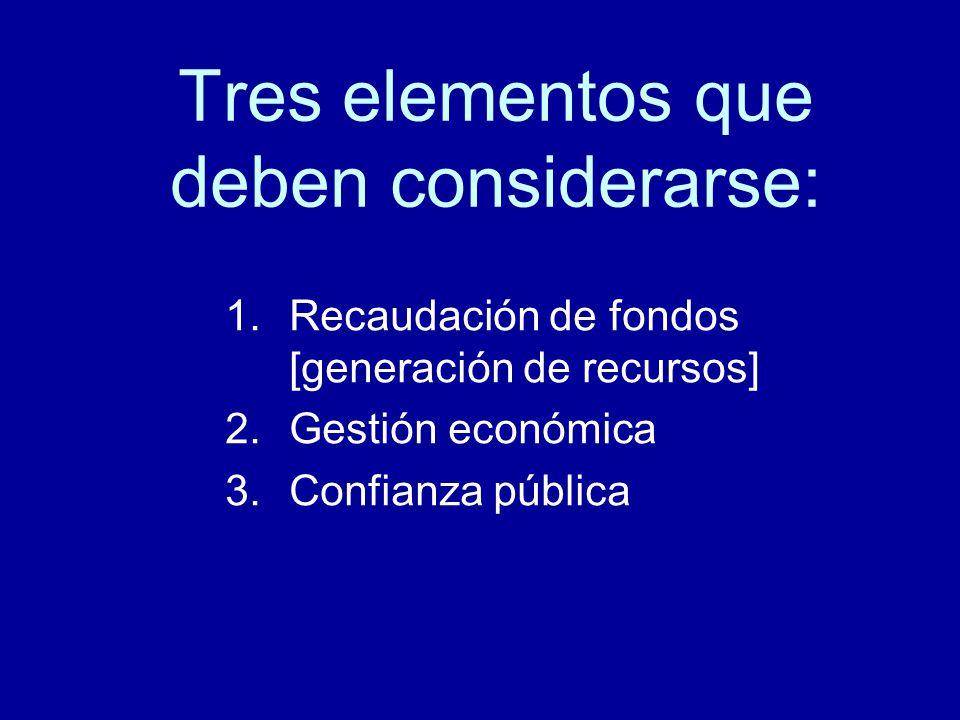 Tres elementos que deben considerarse: 1.Recaudación de fondos [generación de recursos] 2.Gestión económica 3.Confianza pública