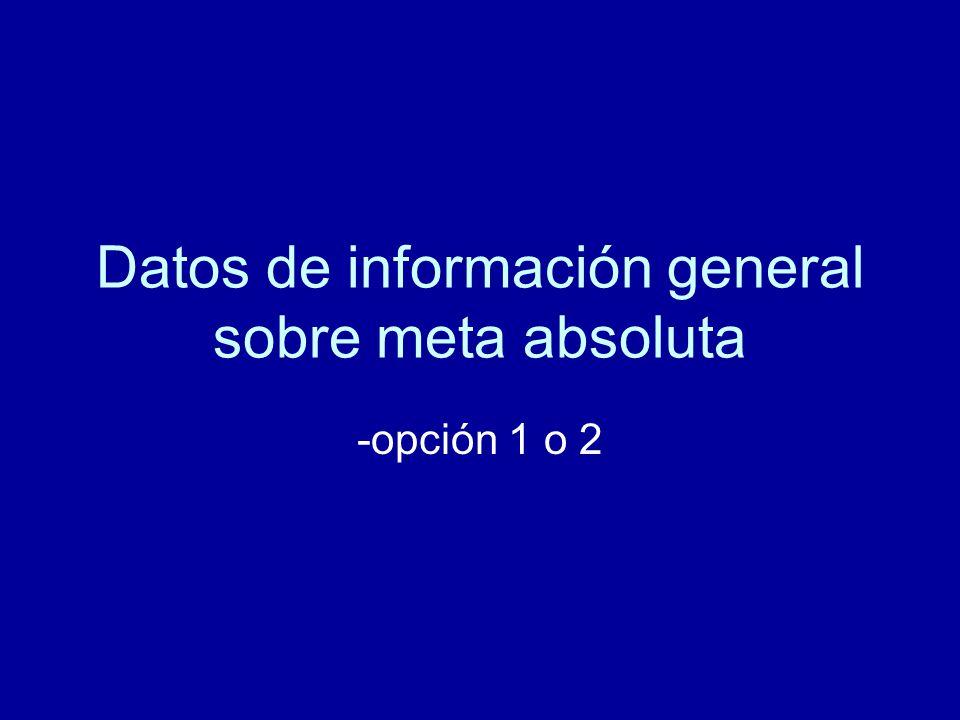Datos de información general sobre meta absoluta -opción 1 o 2