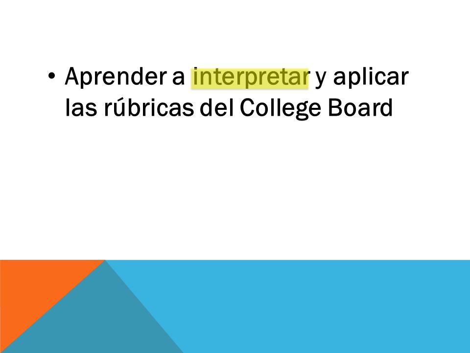 Aprender a interpretar y aplicar las rúbricas del College Board