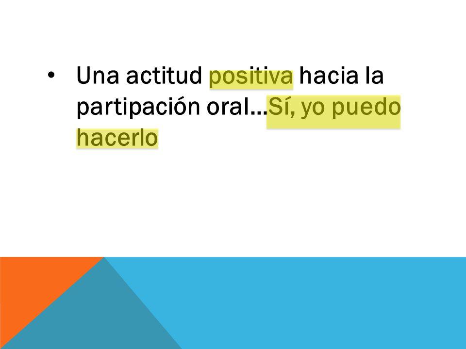 Una actitud positiva hacia la partipación oral…Sí, yo puedo hacerlo