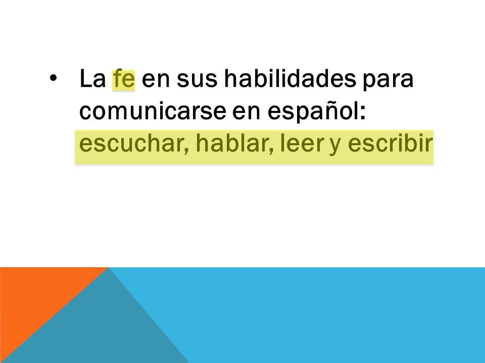 La fe en sus habilidades para comunicarse en español: escuchar, hablar, leer y escribir