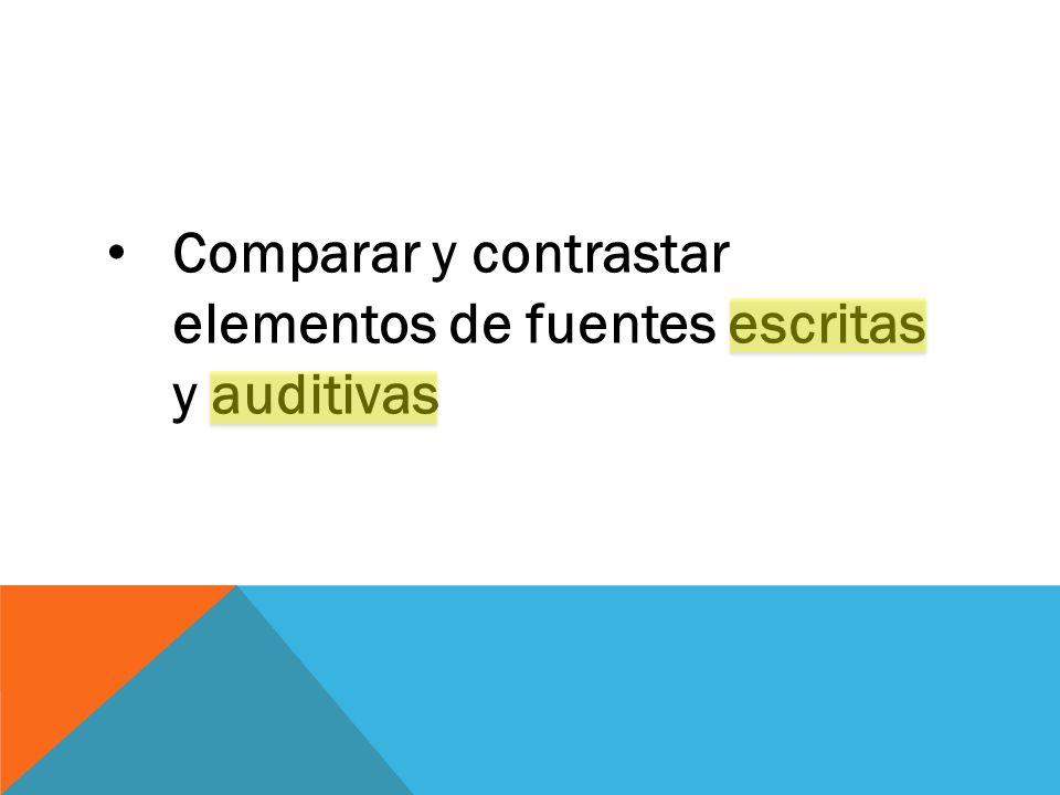 Comparar y contrastar elementos de fuentes escritas y auditivas