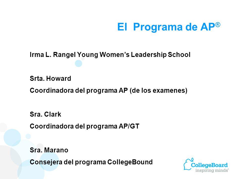 El programa de cursos de colocación avanzada (AP ® ), por sus siglas en inglés, son clases de nivel universitario que se ofrecen en la escuela preparatoria.
