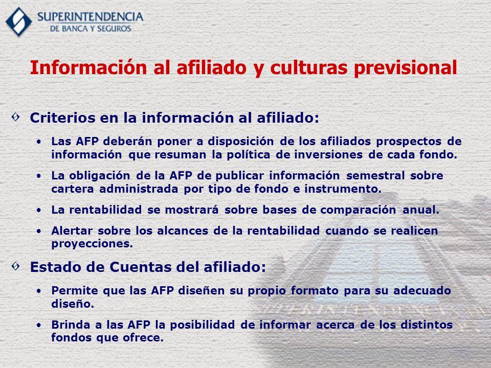 Criterios en la información al afiliado: Las AFP deberán poner a disposición de los afiliados prospectos de información que resuman la política de inversiones de cada fondo.