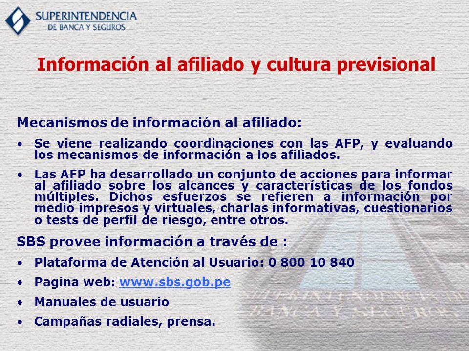 Mecanismos de información al afiliado: Se viene realizando coordinaciones con las AFP, y evaluando los mecanismos de información a los afiliados. Las