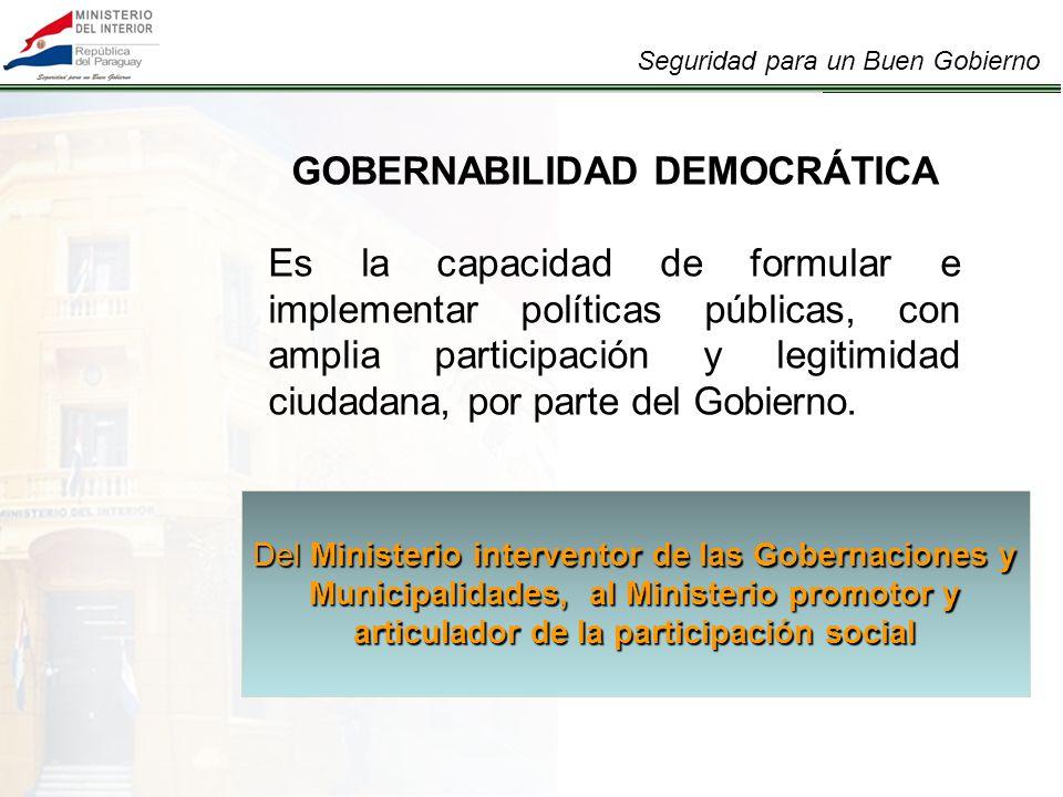 Seguridad para un Buen Gobierno GOBERNABILIDAD DEMOCRÁTICA Es la capacidad de formular e implementar políticas públicas, con amplia participación y legitimidad ciudadana, por parte del Gobierno.