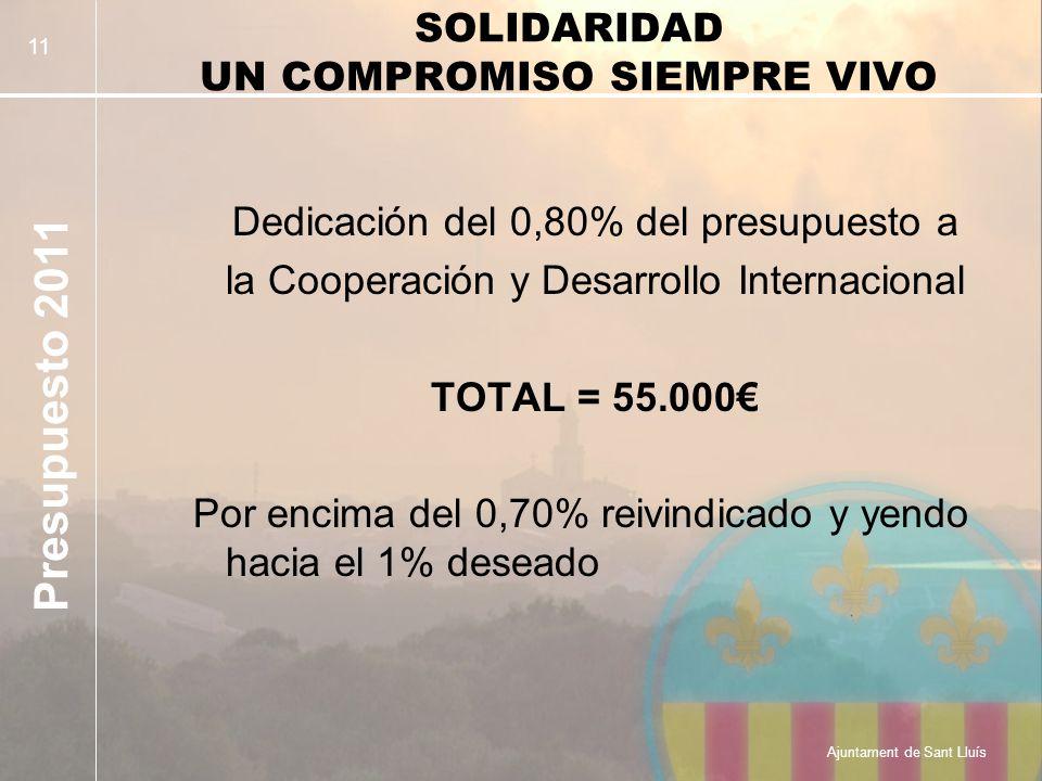 Presupuesto 2011 Ajuntament de Sant Lluís 11 SOLIDARIDAD UN COMPROMISO SIEMPRE VIVO Dedicación del 0,80% del presupuesto a la Cooperación y Desarrollo Internacional TOTAL = 55.000 Por encima del 0,70% reivindicado y yendo hacia el 1% deseado