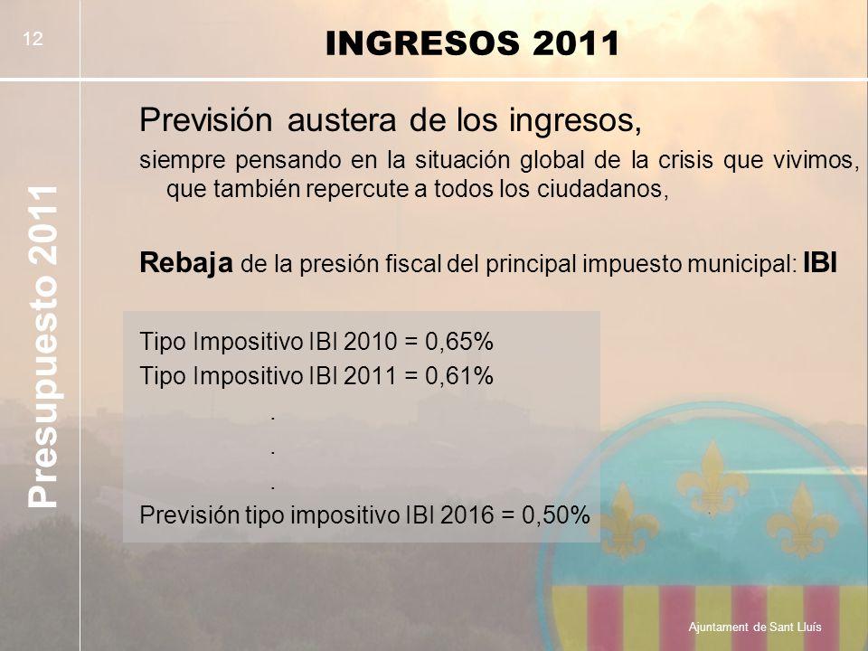 Presupuesto 2011 Ajuntament de Sant Lluís 12 INGRESOS 2011 Previsión austera de los ingresos, siempre pensando en la situación global de la crisis que vivimos, que también repercute a todos los ciudadanos, Rebaja de la presión fiscal del principal impuesto municipal: IBI Tipo Impositivo IBI 2010 = 0,65% Tipo Impositivo IBI 2011 = 0,61%.