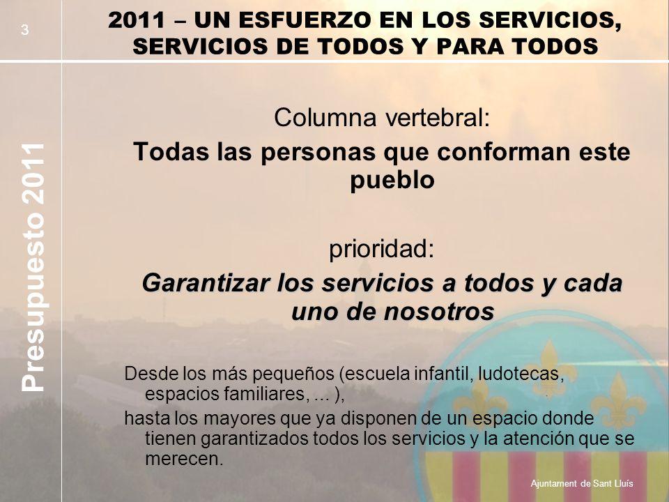 Presupuesto 2011 Ajuntament de Sant Lluís 4 SERVICIOS DE ATENCIÓN A LAS PERSONAS Asistencia a personas dependientes + Residencia Geriátrica y Centro de Día 905.000 Acción Social, Ayudas Directas, Bonificaciones de Servicios,...