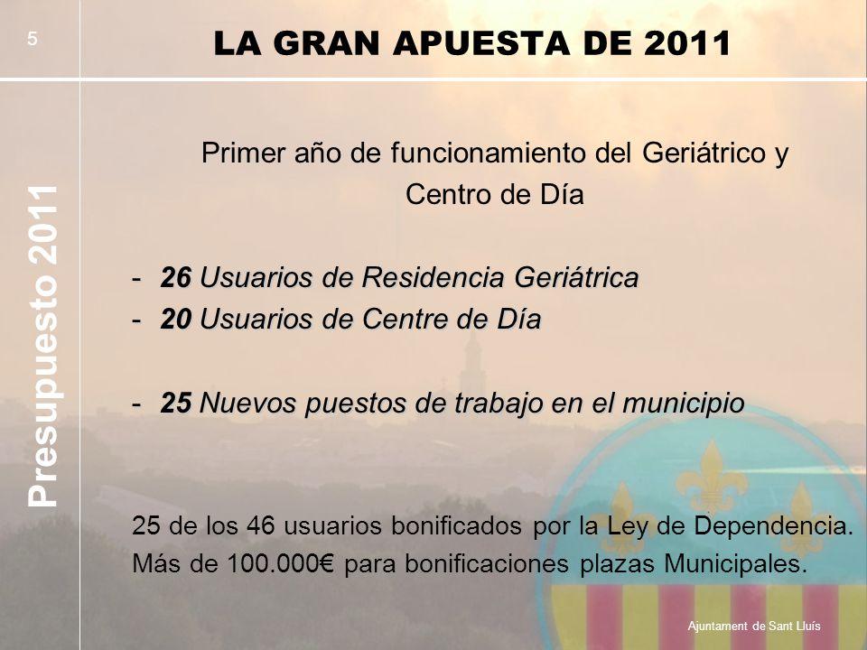 Presupuesto 2011 Ajuntament de Sant Lluís 5 LA GRAN APUESTA DE 2011 Primer año de funcionamiento del Geriátrico y Centro de Día -26 Usuarios de Residencia Geriátrica -20 Usuarios de Centre de Día -25 Nuevos puestos de trabajo en el municipio 25 de los 46 usuarios bonificados por la Ley de Dependencia.