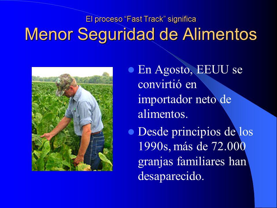 El proceso Fast Track significa Menor Seguridad de Alimentos En Agosto, EEUU se convirtió en importador neto de alimentos.