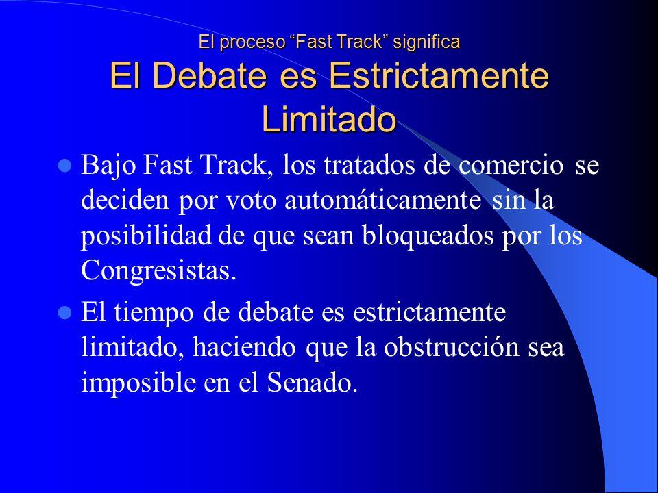 El proceso Fast Track significa El Debate es Estrictamente Limitado Bajo Fast Track, los tratados de comercio se deciden por voto automáticamente sin la posibilidad de que sean bloqueados por los Congresistas.
