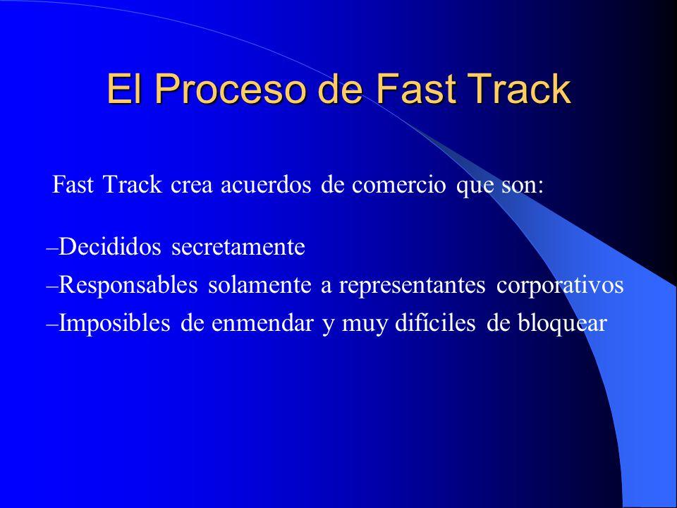 El Proceso de Fast Track Fast Track crea acuerdos de comercio que son: – Decididos secretamente – Responsables solamente a representantes corporativos – Imposibles de enmendar y muy difíciles de bloquear