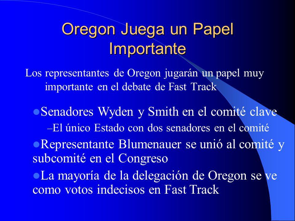 Oregon Juega un Papel Importante Los representantes de Oregon jugarán un papel muy importante en el debate de Fast Track Senadores Wyden y Smith en el comité clave – El único Estado con dos senadores en el comité Representante Blumenauer se unió al comité y subcomité en el Congreso La mayoría de la delegación de Oregon se ve como votos indecisos en Fast Track