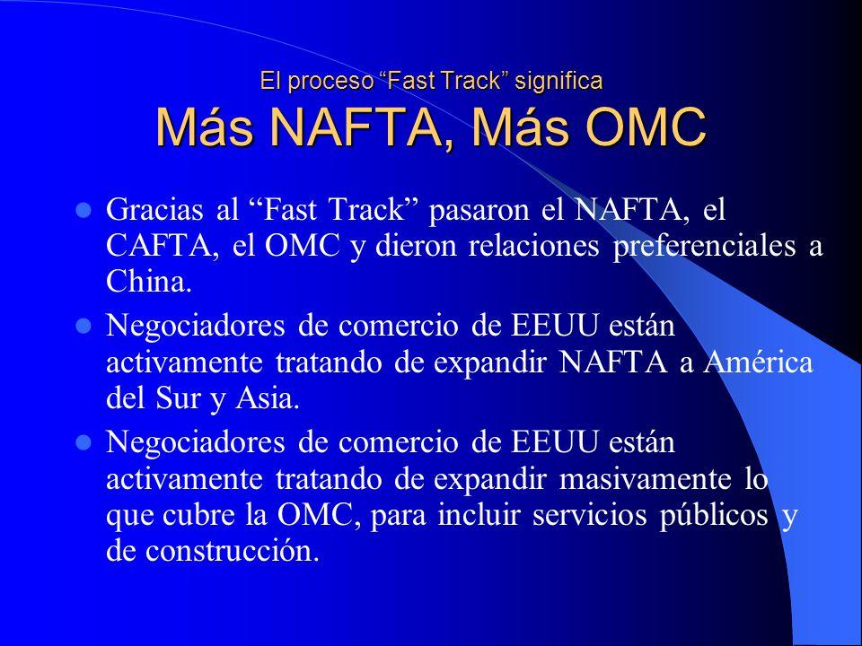El proceso Fast Track significa Más NAFTA, Más OMC Gracias al Fast Track pasaron el NAFTA, el CAFTA, el OMC y dieron relaciones preferenciales a China.