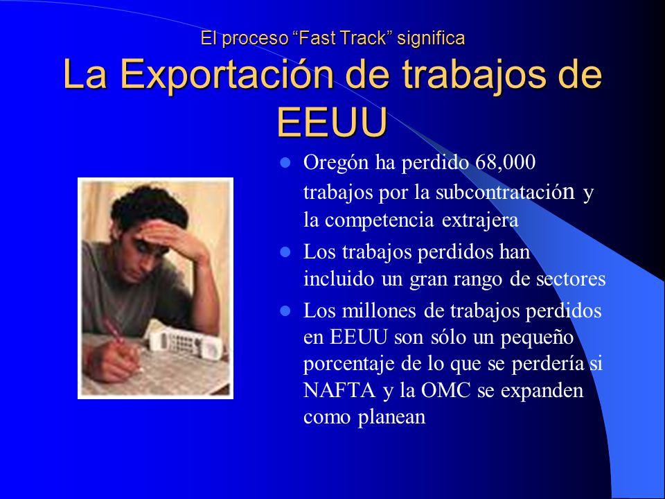El proceso Fast Track significa La Exportación de trabajos de EEUU Oregón ha perdido 68,000 trabajos por la subcontratació n y la competencia extrajera Los trabajos perdidos han incluido un gran rango de sectores Los millones de trabajos perdidos en EEUU son sólo un pequeño porcentaje de lo que se perdería si NAFTA y la OMC se expanden como planean
