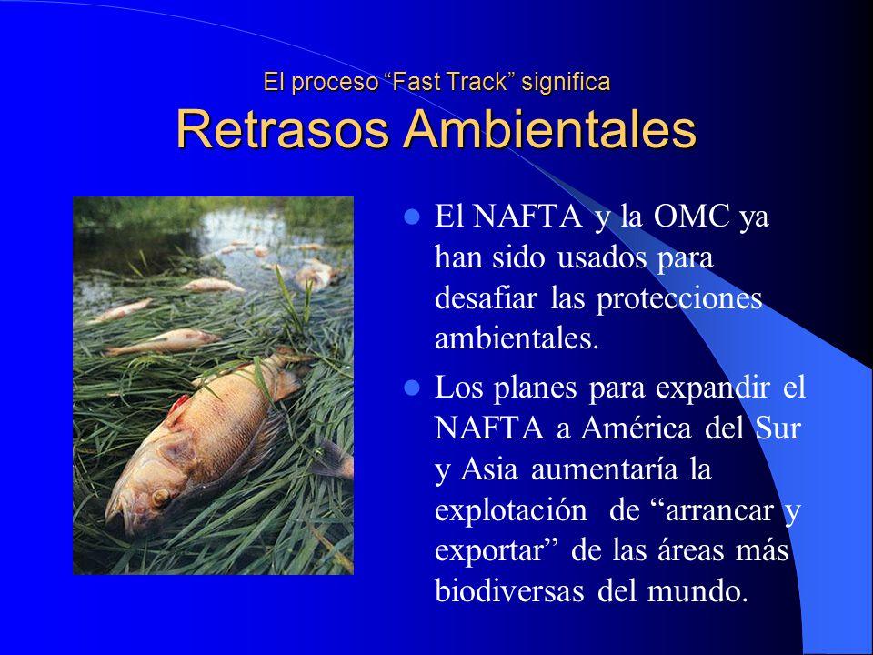 El proceso Fast Track significa Retrasos Ambientales El NAFTA y la OMC ya han sido usados para desafiar las protecciones ambientales.