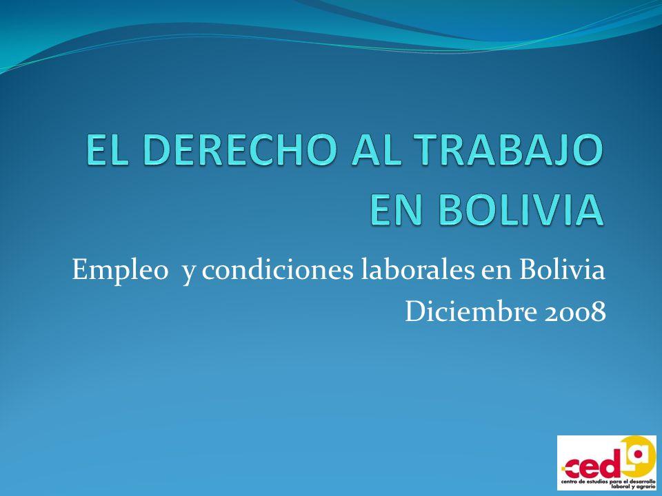 DERECHO AL TRABAJO Según la Declaración Universal de los DD.HH.: Derecho al trabajo, libre elección y protección contra el desempleo, igual salario, protección social y derecho a formar sindicatos Según la CPE boliviana: Derecho a trabajar y a una actividad económica lícita.