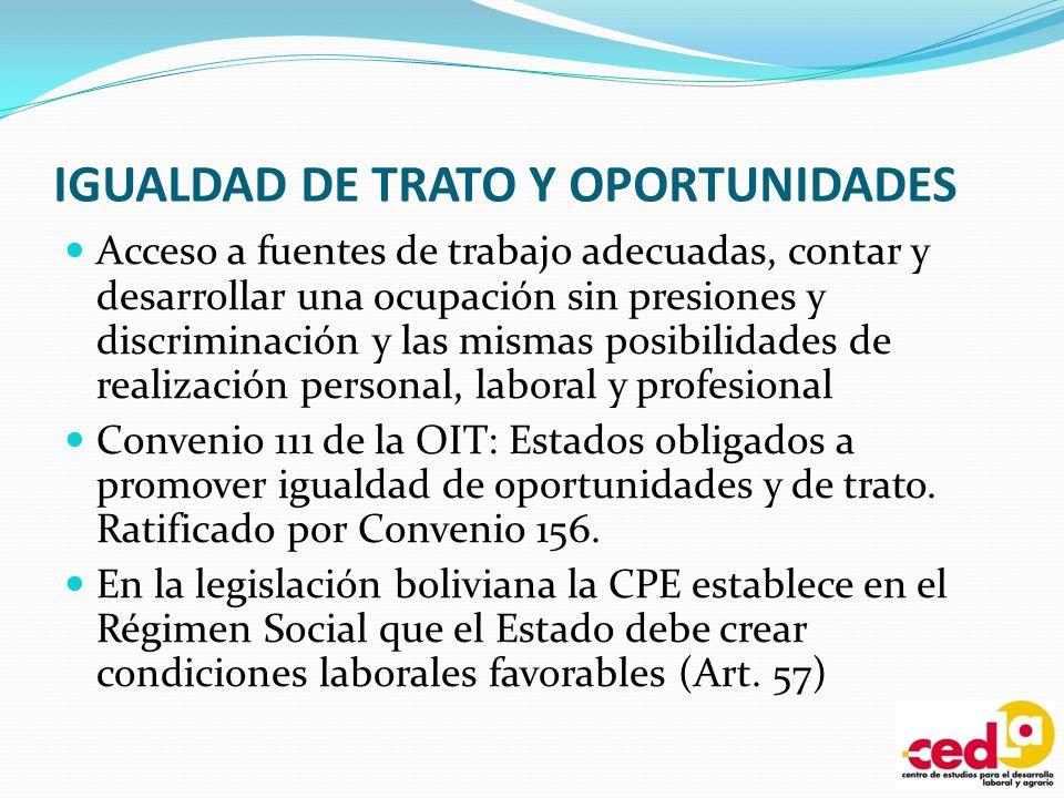 IGUALDAD DE TRATO Y OPORTUNIDADES Acceso a fuentes de trabajo adecuadas, contar y desarrollar una ocupación sin presiones y discriminación y las misma