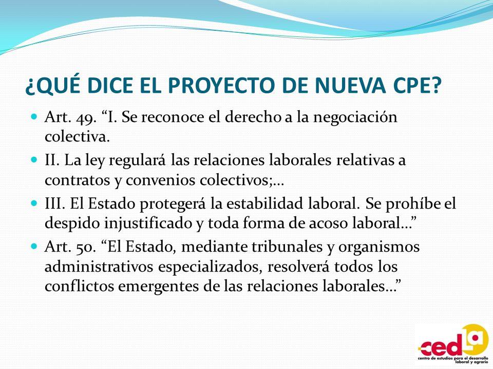 ¿QUÉ DICE EL PROYECTO DE NUEVA CPE? Art. 49. I. Se reconoce el derecho a la negociación colectiva. II. La ley regulará las relaciones laborales relati