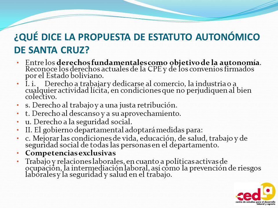 ¿QUÉ DICE LA PROPUESTA DE ESTATUTO AUTONÓMICO DE SANTA CRUZ? Entre los derechos fundamentales como objetivo de la autonomía. Reconoce los derechos act