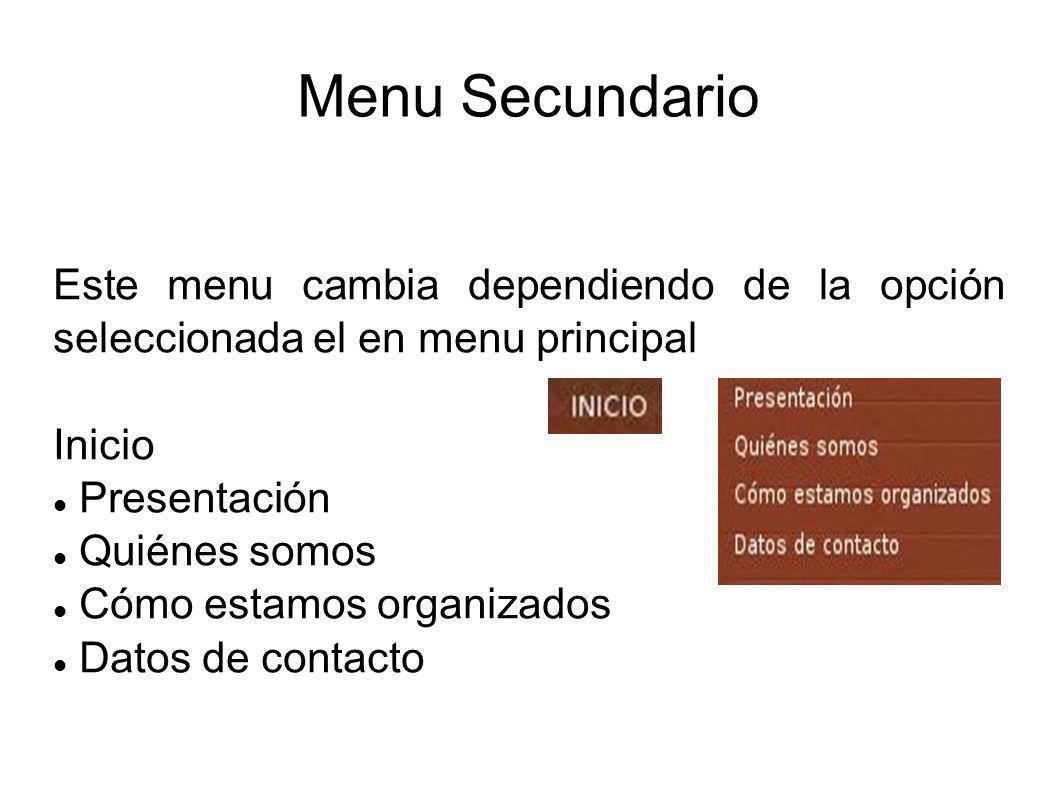 Menu Secundario Este menu cambia dependiendo de la opción seleccionada el en menu principal Inicio Presentación Quiénes somos Cómo estamos organizados Datos de contacto