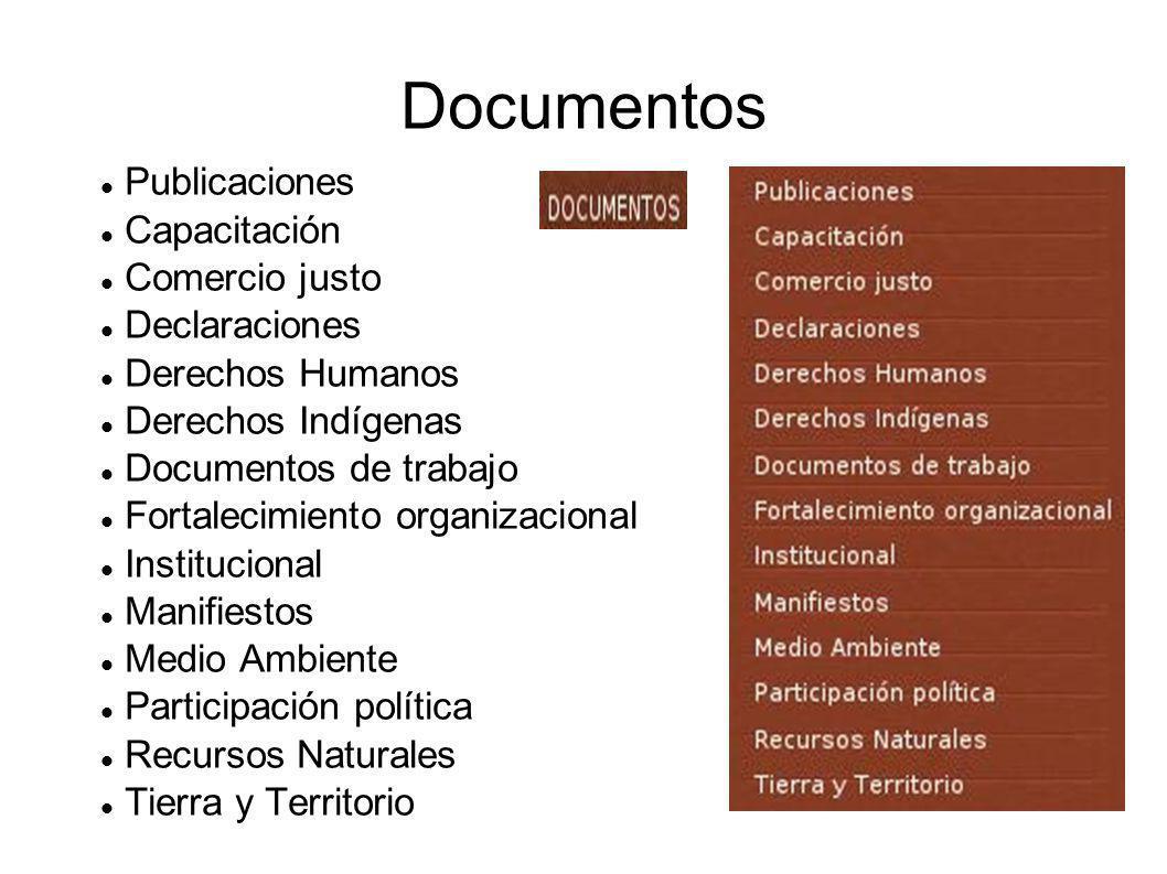 Documentos Publicaciones Capacitación Comercio justo Declaraciones Derechos Humanos Derechos Indígenas Documentos de trabajo Fortalecimiento organizacional Institucional Manifiestos Medio Ambiente Participación política Recursos Naturales Tierra y Territorio