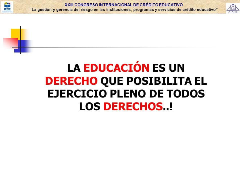 XXIII CONGRESO INTERNACIONAL DE CRÉDITO EDUCATIVO La gestión y gerencia del riesgo en las instituciones, programas y servicios de crédito educativo 4.