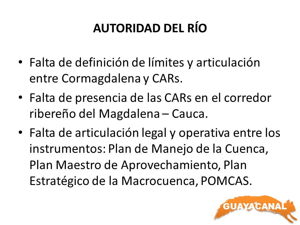 GUAYACANAL AUTORIDAD DEL RÍO Falta de definición de límites y articulación entre Cormagdalena y CARs. Falta de presencia de las CARs en el corredor ri