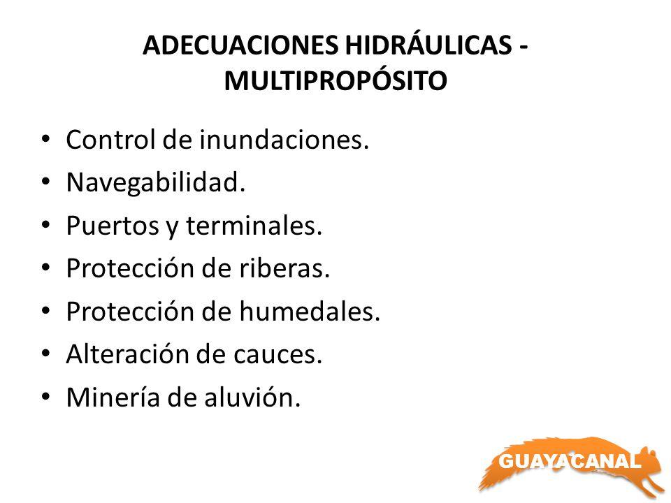 GUAYACANAL ADECUACIONES HIDRÁULICAS - MULTIPROPÓSITO Control de inundaciones. Navegabilidad. Puertos y terminales. Protección de riberas. Protección d