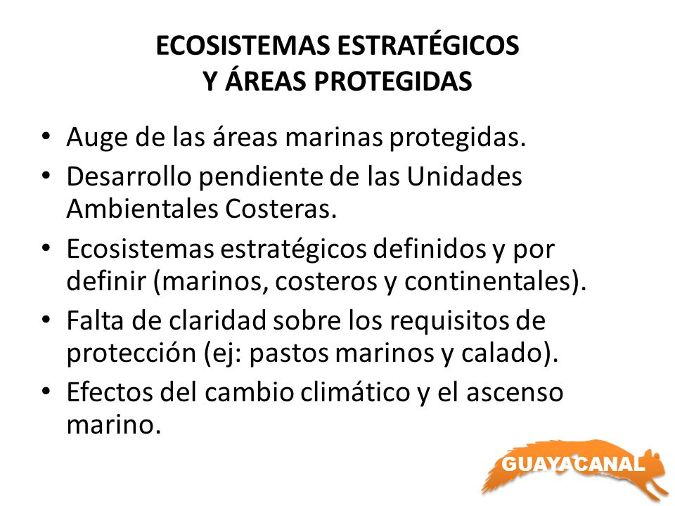 GUAYACANAL ECOSISTEMAS ESTRATÉGICOS Y ÁREAS PROTEGIDAS Auge de las áreas marinas protegidas. Desarrollo pendiente de las Unidades Ambientales Costeras