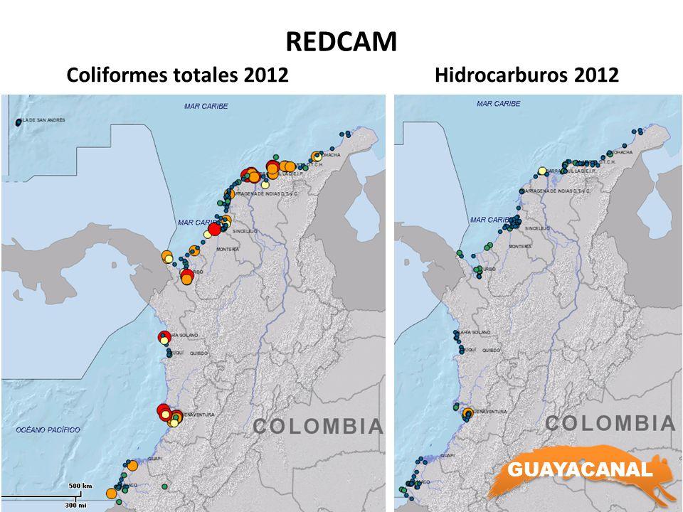 REDCAM Coliformes totales 2012Hidrocarburos 2012 GUAYACANAL