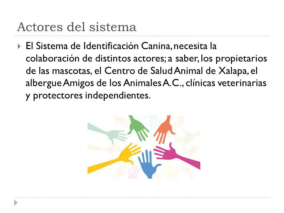 Actores del sistema El Sistema de Identificación Canina, necesita la colaboración de distintos actores; a saber, los propietarios de las mascotas, el