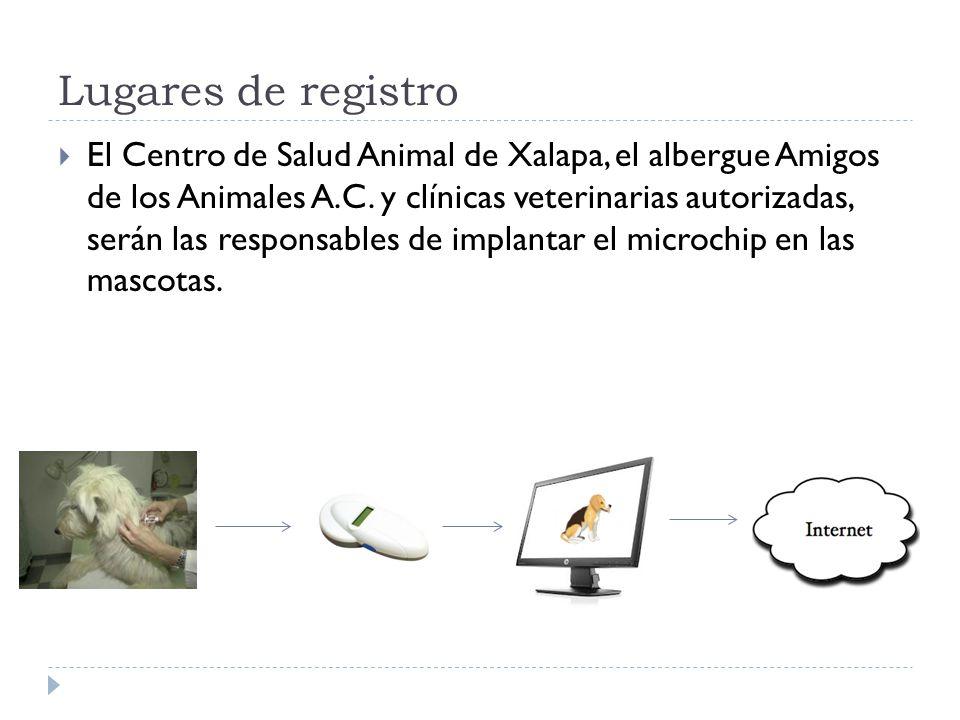 Lugares de registro El Centro de Salud Animal de Xalapa, el albergue Amigos de los Animales A.C. y clínicas veterinarias autorizadas, serán las respon